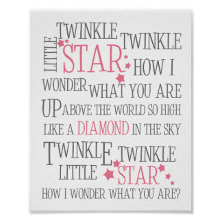 TWINKLE TWINKLE LITTLE STAR - 8X10 ART PRINT PINK