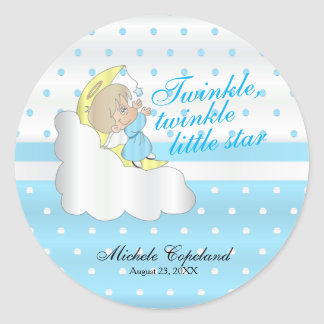 Twinkle, Twinkle Little Star -  Baby Boy Classic Round Sticker