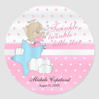Twinkle, Twinkle Little Star -  Baby Girl Classic Round Sticker