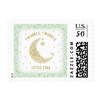 Twinkle Twinkle Little Star Baby Mint & Gold Postage