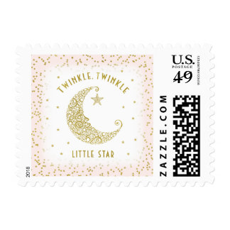 Twinkle Twinkle Little Star Baby Pink Gold Postage
