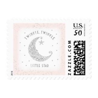 Twinkle Twinkle Little Star Baby Pink Silver Postage