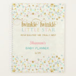 "Twinkle Twinkle Little Star Baby Planner<br><div class=""desc"">Twinkle twinkle little star done in pink,  aqua,  mint &amp; gold on a creme background.</div>"