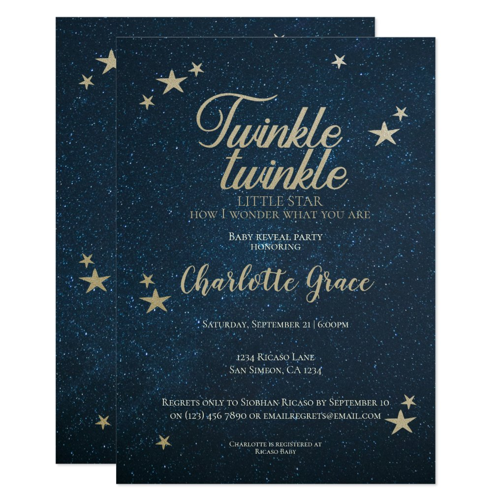 Twinkle Twinkle Little Star Baby Reveal Invitation