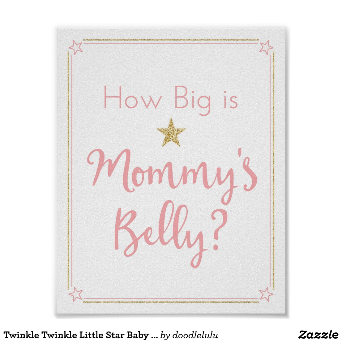 Twinkle Twinkle Little Star Baby Shower Belly Game Poster