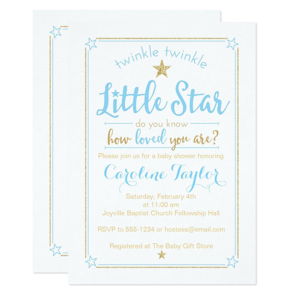 Twinkle Twinkle Little Star Baby Shower Blue Gold Invitation