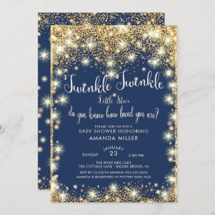 Printable Twinkle Twinkle Little Star invitation Twinkle twinkle baby shower Birthday invitation Customizable Pink and gold