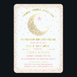 """Twinkle Twinkle Little Star Baby Shower Invitation<br><div class=""""desc"""">Twinkle, Twinkle, Little Star. Do you know how loved you are version. This elegant baby shower invitation features a celestial man in the moon looking at a little star. Blush Pink boarder with tiny gold stars. The back has a matching blush pink with tiny gold stars. Not real foil. Easy...</div>"""