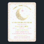 "Twinkle Twinkle Little Star Baby Shower Invitation<br><div class=""desc"">Twinkle, Twinkle, Little Star. Do you know how loved you are version. This elegant baby shower invitation features a celestial man in the moon looking at a little star. Blush Pink boarder with tiny gold stars. The back has a matching blush pink with tiny gold stars. Not real foil. Easy...</div>"