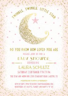 Moon And Stars Baby Shower Invitations Zazzle