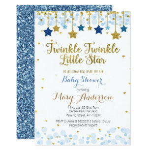 picture about Free Printable Twinkle Twinkle Little Star Baby Shower Invitations named Twinkle Twinkle Tiny Star Boy or girl Shower Invitation