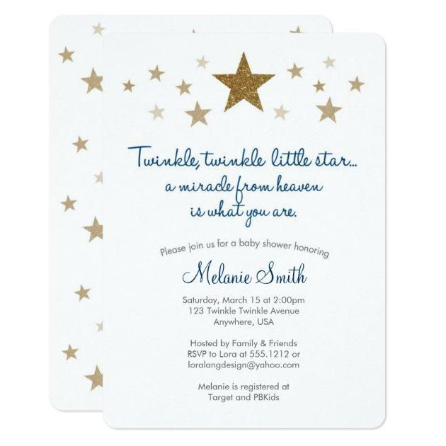 Twinkle Twinkle Little Star Baby Shower Invitation | Zazzle