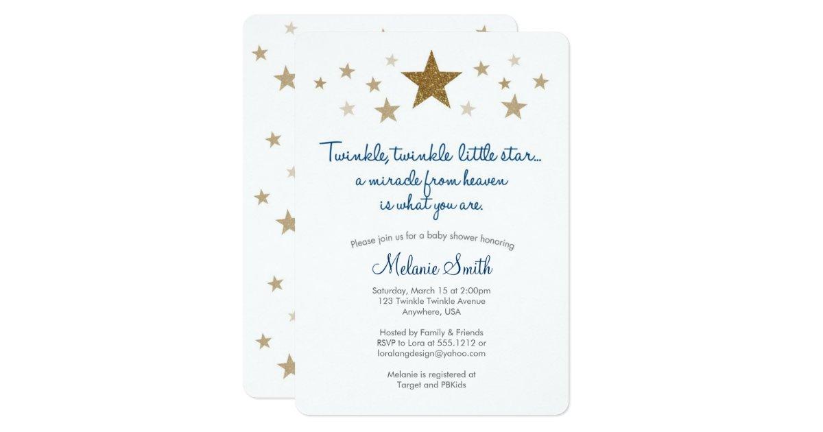 Twinkle Twinkle Little Star Baby Shower Invites ~ Twinkle little star baby shower invitation zazzle