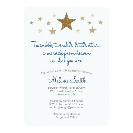 Twinkle Twinkle Little Star Baby Shower Invitation Zazzlecom