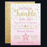 """Twinkle Twinkle Little Star Baby Shower Invitation<br><div class=""""desc"""">This pink and gold twinkle twinkle little star invite is a perfect way to celebrate!</div>"""