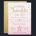 "Twinkle Twinkle Little Star Baby Shower Invitation<br><div class=""desc"">This pink and gold twinkle twinkle little star invite is a perfect way to celebrate!</div>"