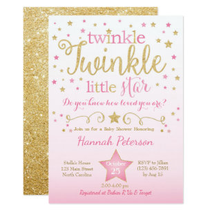 image regarding Free Printable Twinkle Twinkle Little Star Baby Shower Invitations named Twinkle Twinkle Tiny Star Kid Shower Invitation
