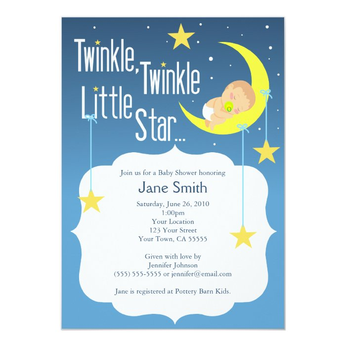 Twinkle Twinkle Little Star Baby Shower Invite Zazzle