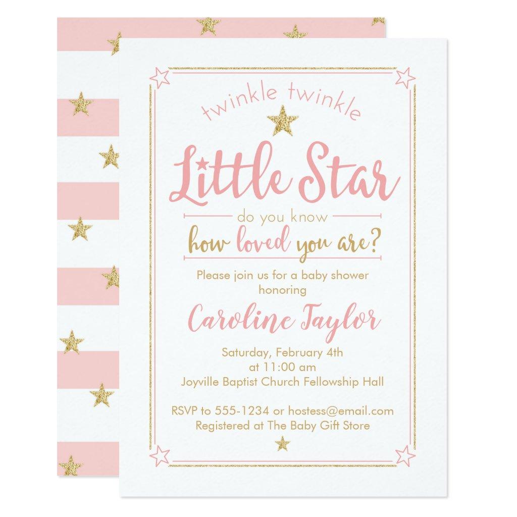 Twinkle Twinkle Little Star Baby Shower Pink Gold Invitation