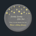 "Twinkle Twinkle Little Star Baby Shower Supplies Paper Plate<br><div class=""desc"">Twinkle twinkle little star,  what a lovely miracle you are! Elegant party supplies for your baby shower party.  Design comes with sparkling and glittering strung up stars contrasting beautifully with the grey background.  Personalise easily with your party message. Text twinkle twinkle little star is not editable.</div>"