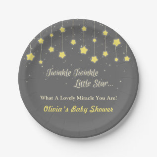 Twinkle Twinkle Little Star Baby Shower Supplies Paper Plate at Zazzle