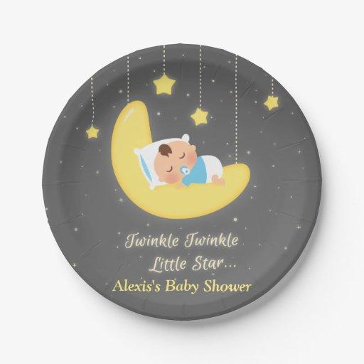 twinkle twinkle little star baby shower supplies paper plate zazzle