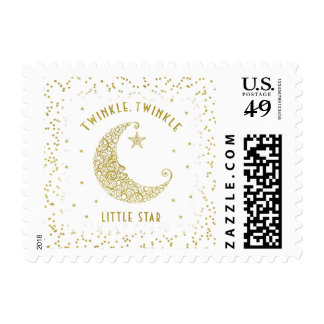Twinkle Twinkle Little Star Baby White & Gold Postage