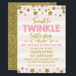 "Twinkle twinkle Little Star Birthday Invitation<br><div class=""desc"">This cute twinkle twinkle little star birthday invitation is suitable for a 1st year old but can be used for a different age. The design features some pink and faux gold foil stars at the top and base of the invitation. The background is a pink and off white striped pattern...</div>"