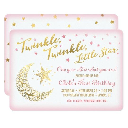 Twinkle Twinkle Little Star Birthday Invitation Zazzlecom
