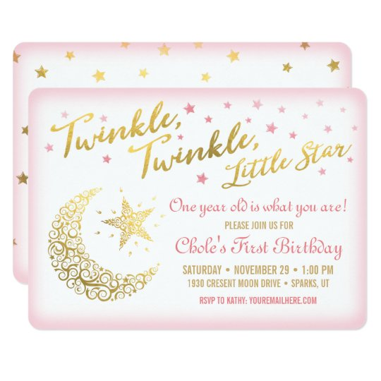 Twinkle Twinkle Little Star Birthday Invitation Zazzle Com