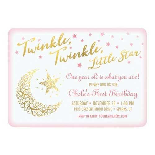 Popular 25 Pink And Gold Twinkle Twinkle Birthday Popular Invitation