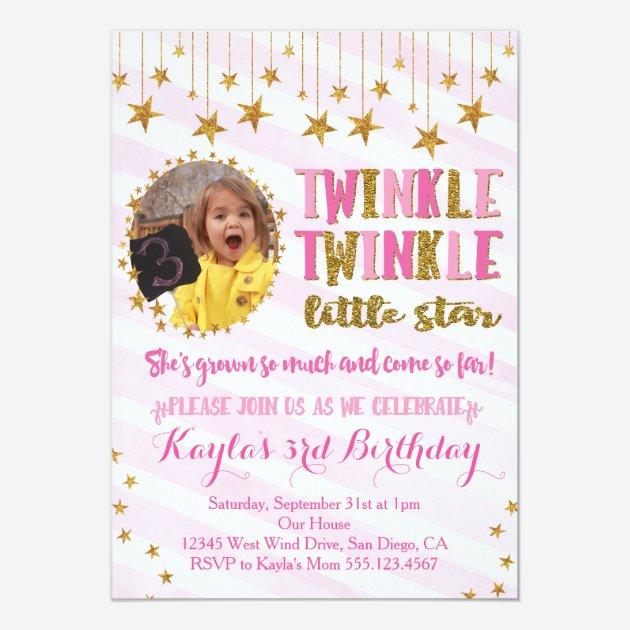 Custom Twinkle Twinkle Little Star Invites Templates Babyfavors4u