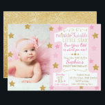 "Twinkle Twinkle Little Star Birthday Invitation<br><div class=""desc"">This pink and gold invitation is perfect for your little one&#39;s birthday party! Customize with your photo and details for any age.</div>"