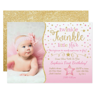 Twinkle Little Star Invitations Announcements Zazzle - Birthday invitation for baby