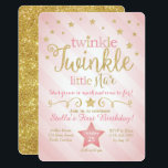 "Twinkle Twinkle Little Star Birthday Invitation<br><div class=""desc"">Twinkle Twinkle Little Star She&#39;s grown so much and come so far! This invite is perfect for your little one&#39;s first birthday. Can be made for any age!</div>"