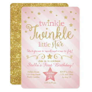 Twinkle Twinkle Little Star Birthday Invitation at Zazzle
