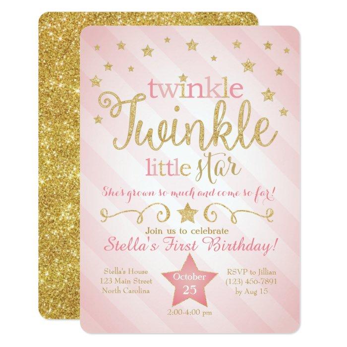Twinkle Twinkle Little Star Birthday Invitation | Zazzle