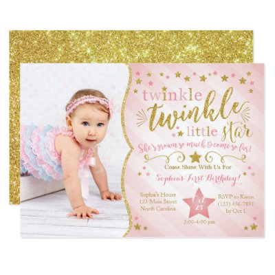 Twinkle Twinkle Little Star Birthday Invitation Zazzlecom