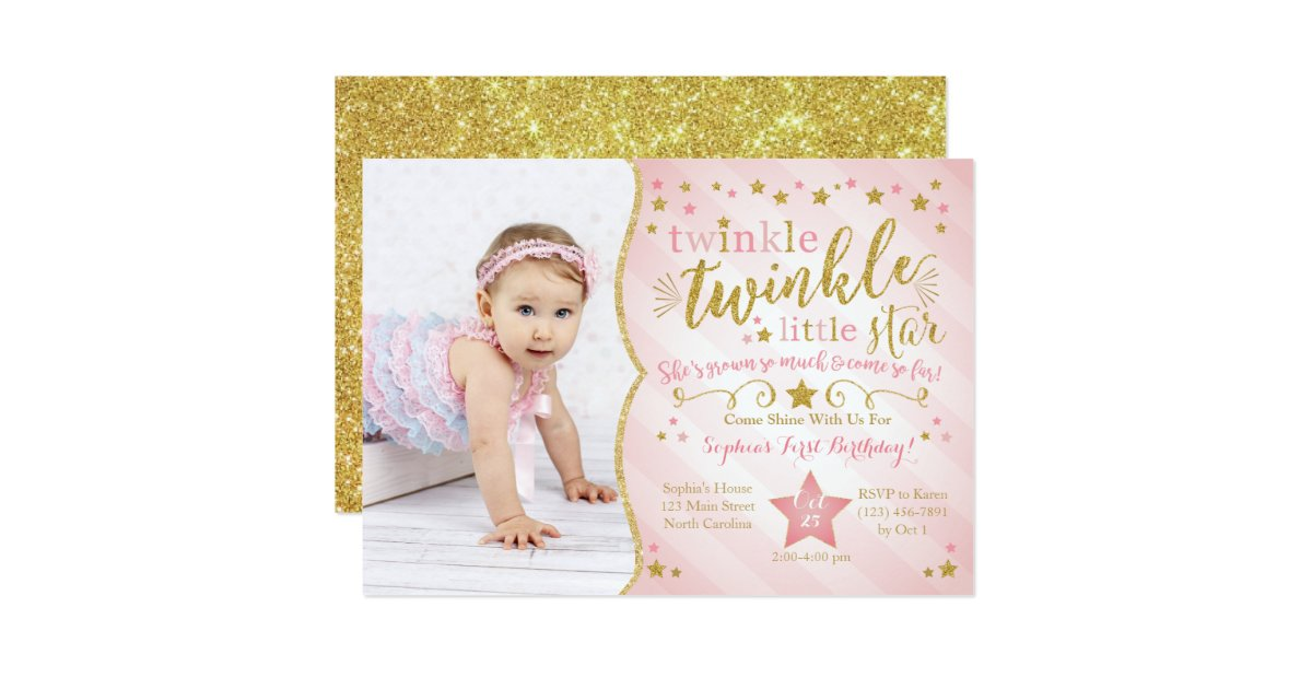Pink And Gold First Birthday Invitations & Announcements | Zazzle