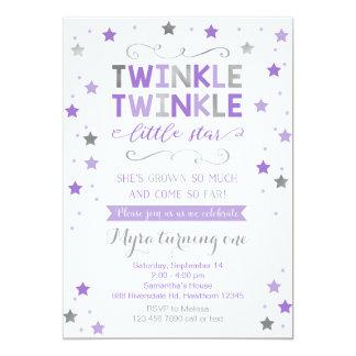 Twinkle Twinkle Little Star Birthday Invite, Girl Card