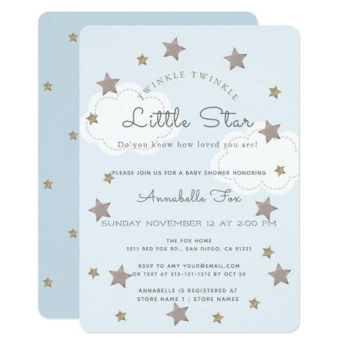 Twinkle Twinkle Little Star Blue Baby Shower Invitation