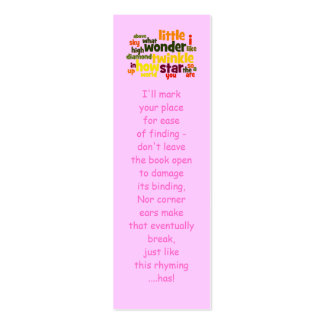 Twinkle, twinkle little star... bookmark Double-Sided mini business cards (Pack of 20)