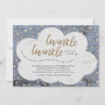 Twinkle Twinkle Little Star Boys Blue Baby Shower Thank You Card