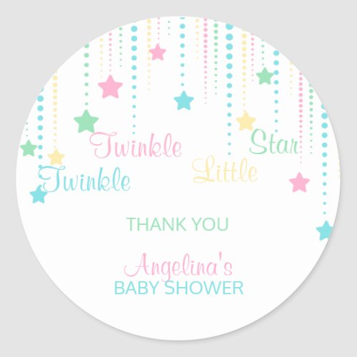 Twinkle Twinkle Little Star - Custom Baby Shower Classic Round Sticker