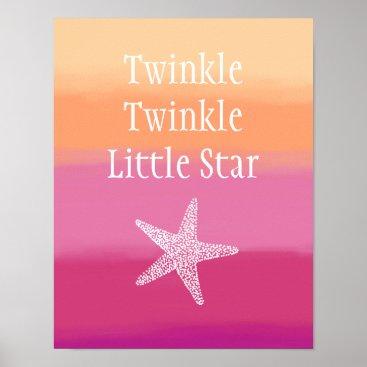 Beach Themed Twinkle Twinkle Little Star Fish (Ocean Beach) Poster
