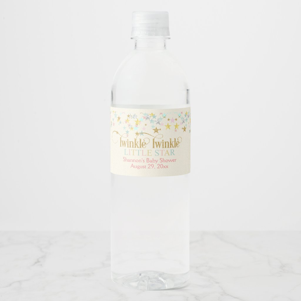 Twinkle Twinkle Little Star Gender Neutral Baby Water Bottle Label