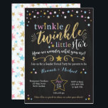 "Twinkle Twinkle Little Star Gender Reveal Invite<br><div class=""desc"">Pink,  Blue and gold Twinkle Twinkle Little Star Gender Reveal Party Invitation</div>"