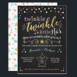 """Twinkle Twinkle Little Star Gender Reveal Invite<br><div class=""""desc"""">Pink,  Blue and gold Twinkle Twinkle Little Star Gender Reveal Party Invitation</div>"""