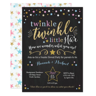 Twinkle Twinkle Little Star Gender Reveal Invite at Zazzle