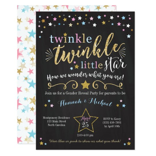 Twinkle Twinkle Little Star Gender Reveal Invite Zazzlecom